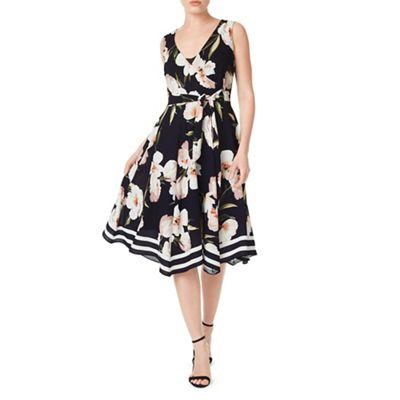Petite border floral dress
