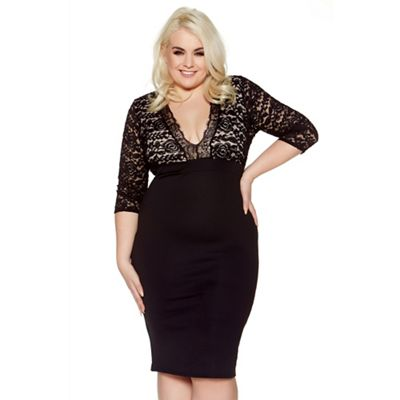 Curve black and nude lace 3/4 sleeves bodycon midi dress
