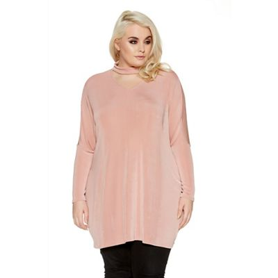 Pink curve oversize choker top