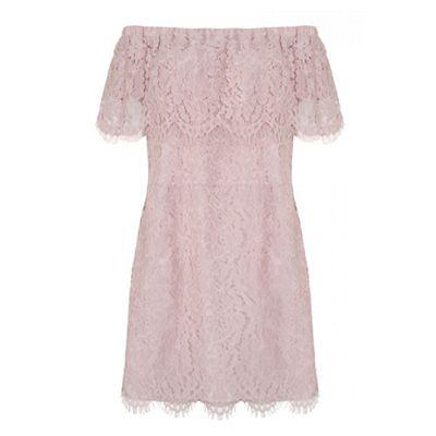 Curve pink lace bardot bodycon dress