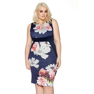 Navy curve floral bodycon dress