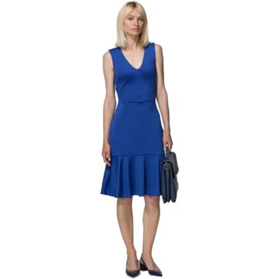 Royal blue drop waist ponte dress in clever fabric