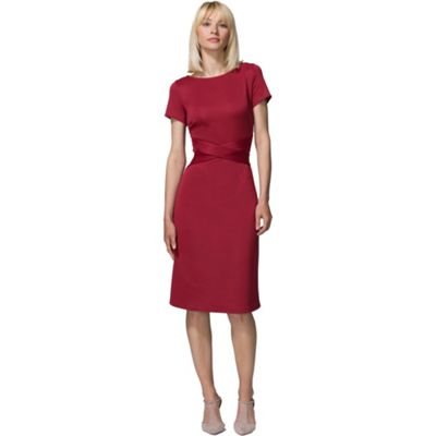 Red cross waist ponte dress in clever fabric