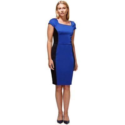 Royal blue square neck hourglass ponte dress
