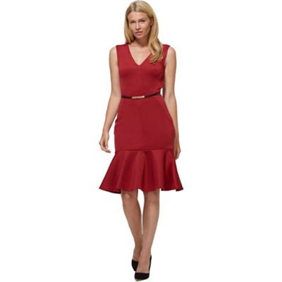 Red v-neck drop waist ponte dress in clever fabric