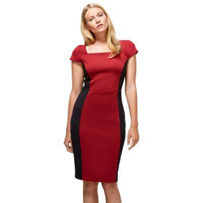 Red & black square neck hourglass ponte dress