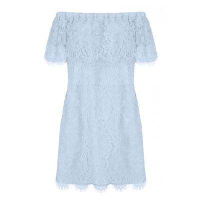 Curve blue lace bardot bodycon dress