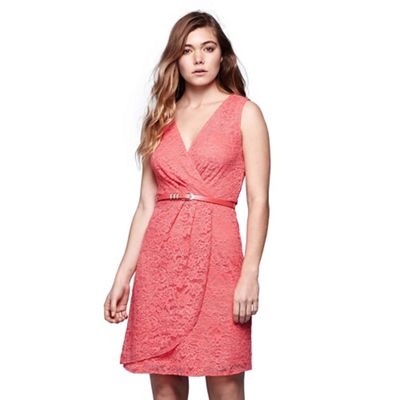 Pink lace wrap front belted dress