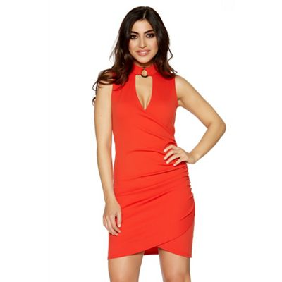 Red ruched choker detail bodycon dress