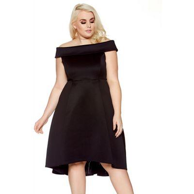 Curve black scuba bardot skater dress