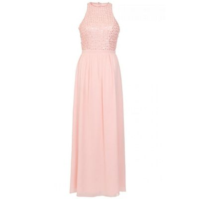 Peach chiffon pearl high neck maxi dress
