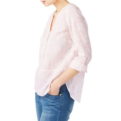 Etched hut linen blouse