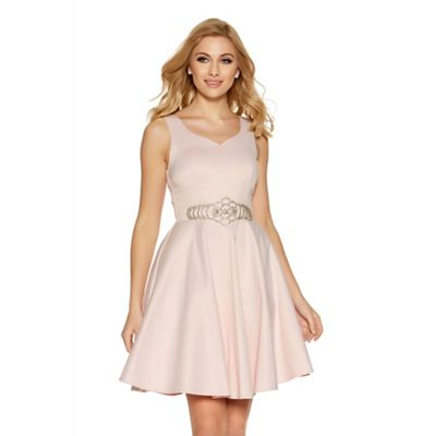 Pink satin diamante waist prom dress