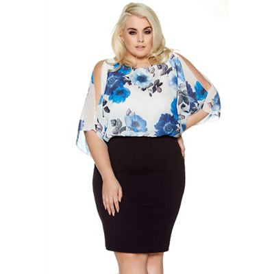 Cream and blue curve chiffon bubble midi dress