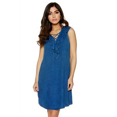Dark blue denim frill lace up dress