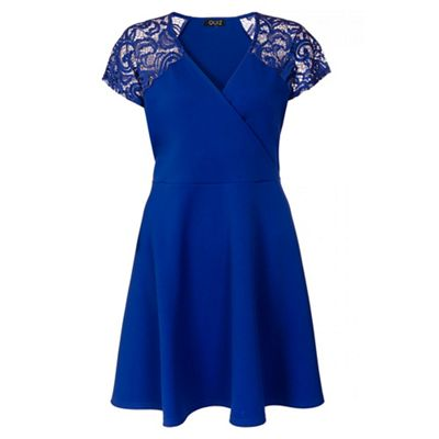 Curve royal blue lace sleevess wrapover skater dress