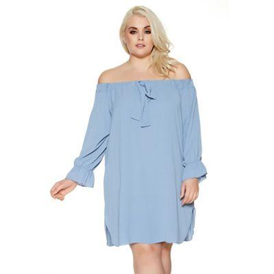 Blue curve bardot bow detail tunic dress