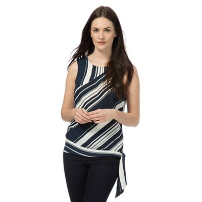 Navy striped print side knot top