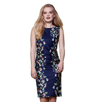 Blue tropical bird dress