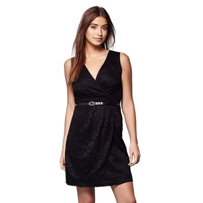 Black lace sleeveless belted dress