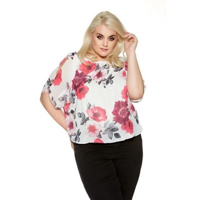 Cream and pink curve chiffon bubble split sleeve top