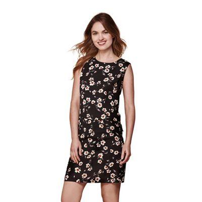 Black floral sleeveless tunic