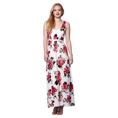 Ivory blossom print maxi dress
