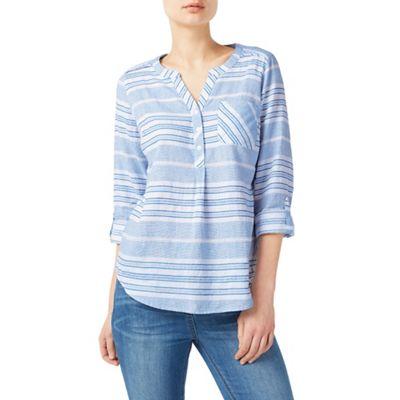 Light blue texture stripe blouse