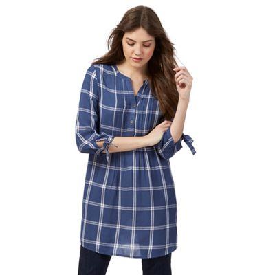 Blue longline windowpane shirt