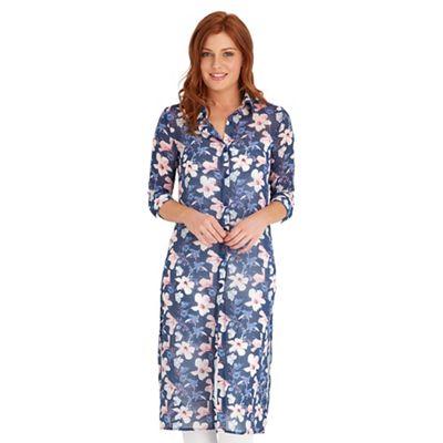 Multi coloured summer bloom longline blouse