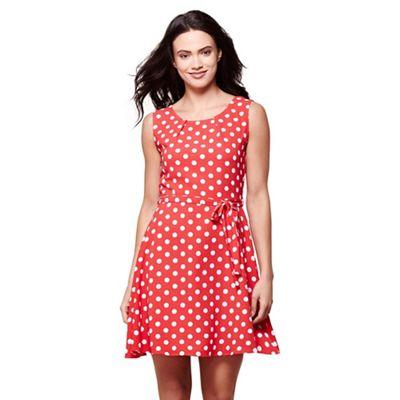 Red sleeveless spot print skater dress