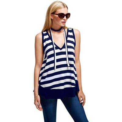 Navy striped top with neck tie in clever fabric