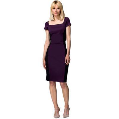 Damson & black square neck hourglass ponte dress