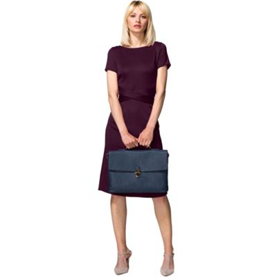 Damson cross waist ponte dress in clever fabric