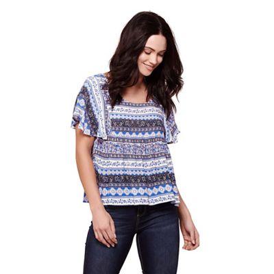 Blue aztec print short sleeves top