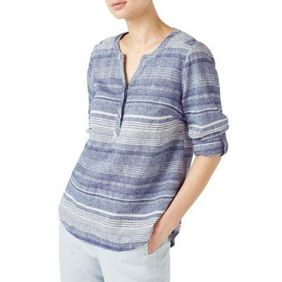 Variated stripe linen blouse