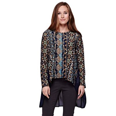 blue Printed Tunic Top With Long Sleeves