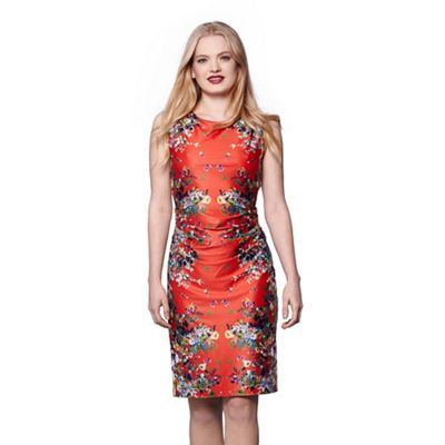 Red cascading floral mirrored jersey dress