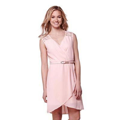 Pink lace shoulder part dress