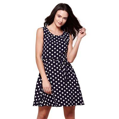 Navy sleeveless spot print skater dress