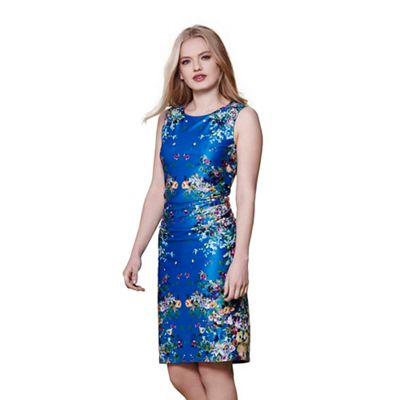 Blue cascading floral mirrored jersey dress