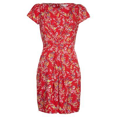 Red eastern bird print dress