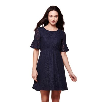 Navy lace tea dress