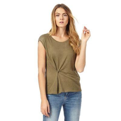 Khaki twist front t-shirt