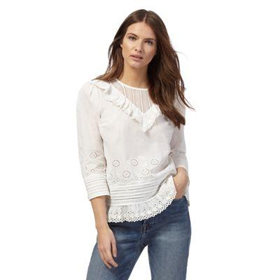 Ivory ruffled blouse