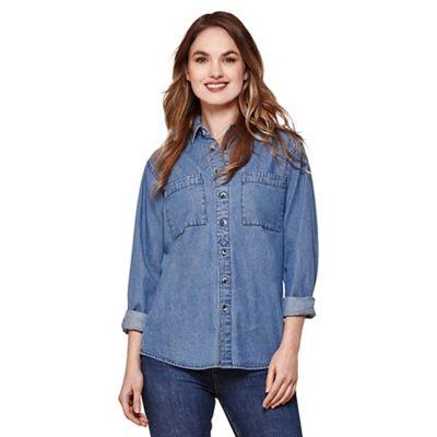 Blue denim button-through shirt