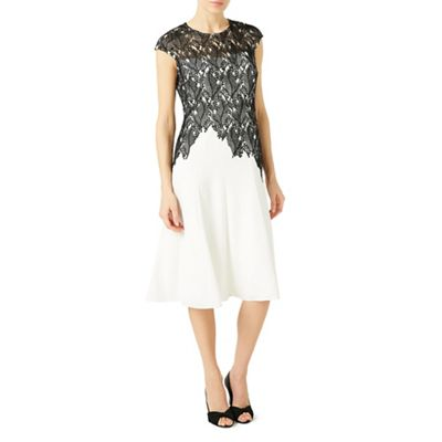 Leaf lace top crepe soft dress
