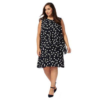 Navy spot print plus size dress