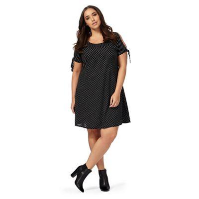 Black polka dot print plus size swing dress