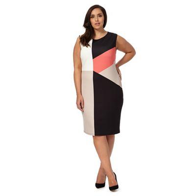 Black colour block plus size dress